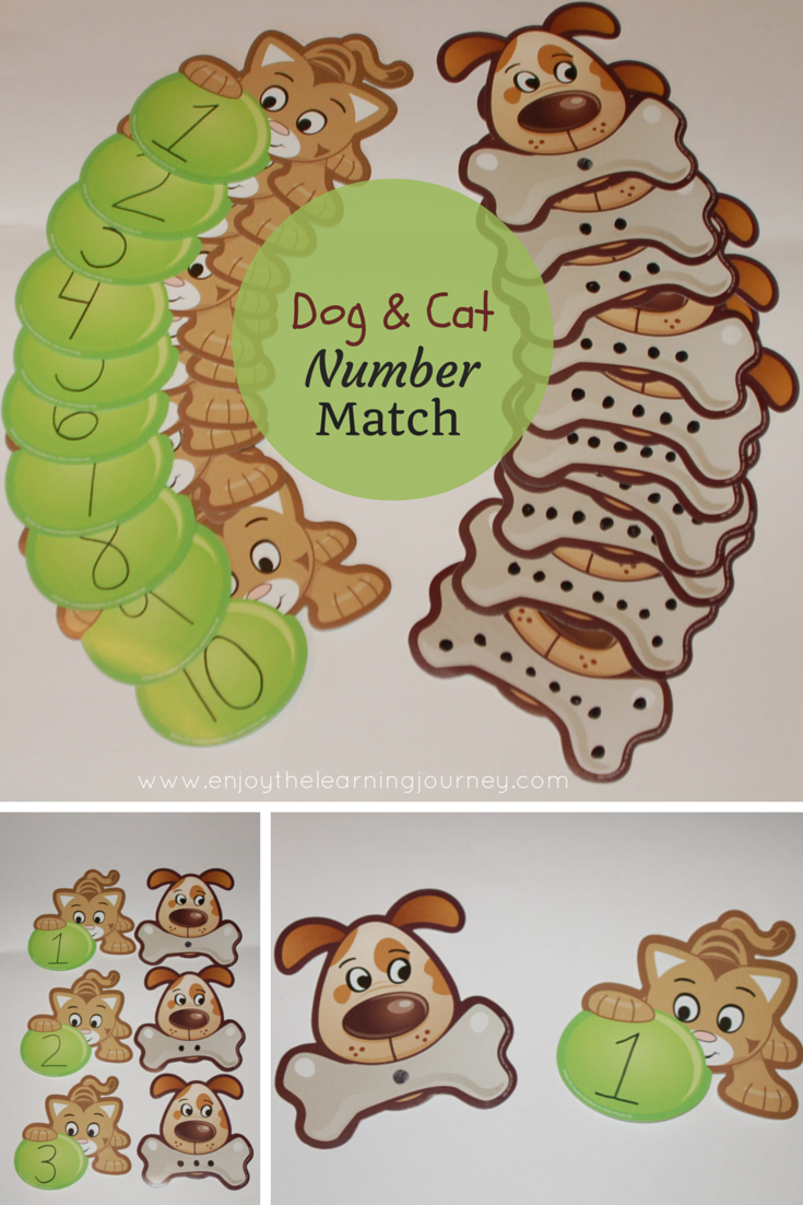Preschoolers will love this adorable Dog and Cat Number Match Game! It promotes counting and number recognition.