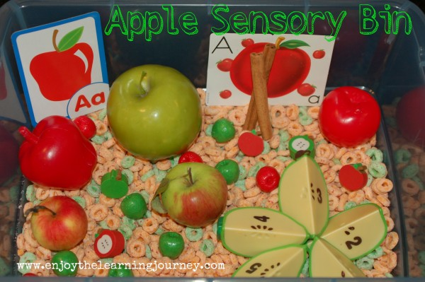 Apple Sensory Bin for Preschoolers - this learning activity for kids is easy to put together and tasty too!
