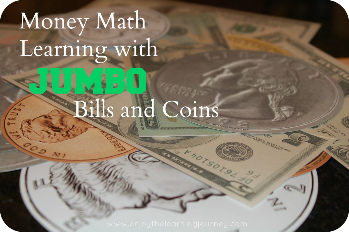 Money Math Learning with Jumbo Bills & Coins