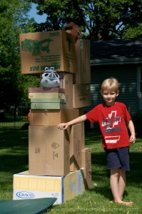 Angry Birds Tower Tumble with Cardboard Boxes