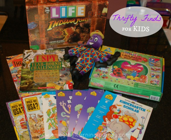 Thrifty Finds for Kids - Indiana Jones Game of Life, Sticky Mosaics, The Wiggles and Books
