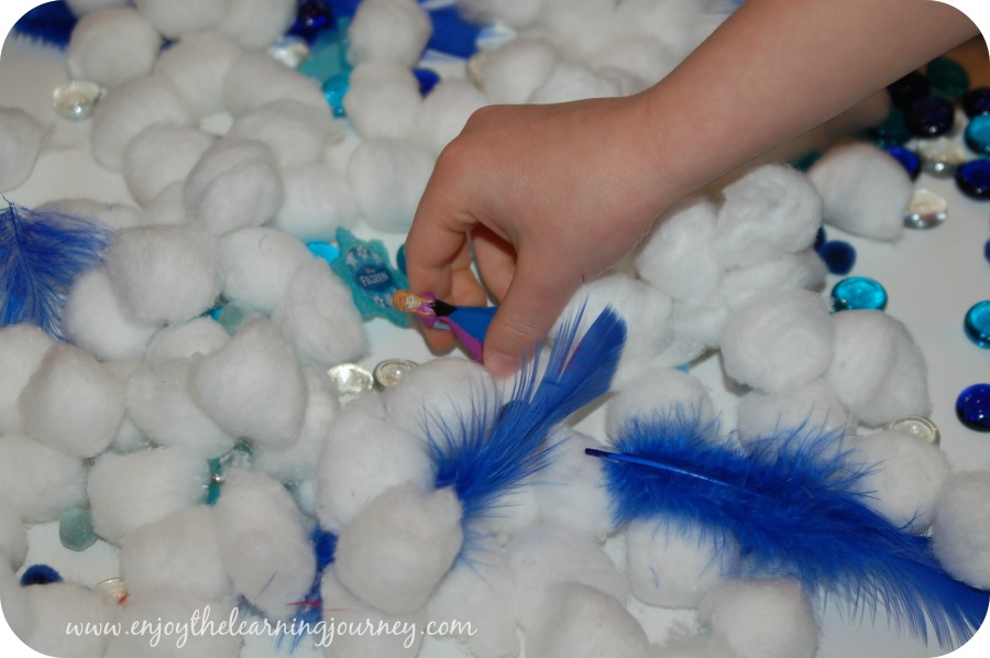 Frozen Sensory Bin Playing