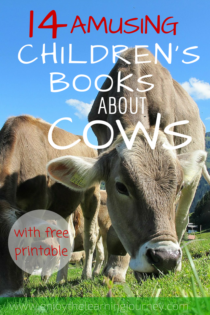 14 Amusing Children's Books about Cows with a FREE Alphabet Games printable that is a great learning supplement for preschoolers and kindergartners!