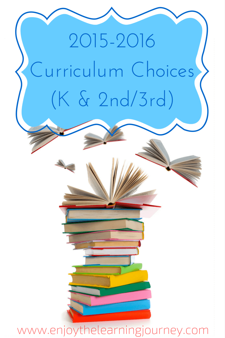 Enjoy the Learning Journey - 2015-2016 Curriculum Choices for Kindergarten and 2nd/3rd Grade