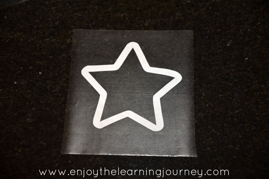 Star cut out on Con-tact paper