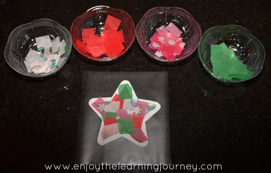 Bowls with paper for Christmas star paper craft