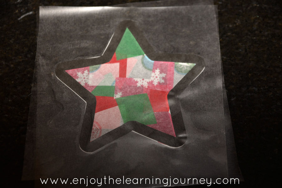 Christmas star paper craft on table