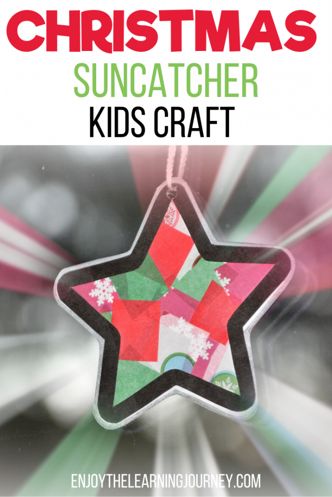 "Green Red and White suncatcher Christmas star craft with text that reads ""Christmas Suncatcher Kids Craft"""