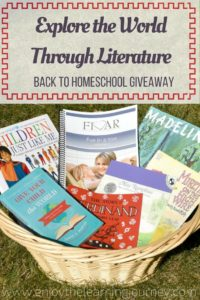 Explore the World Through Literature ~ Back to Homeschool Giveaway included some amazing resources, including Five in a Row Volume 2 with accompanying books and Give Your Child the World!