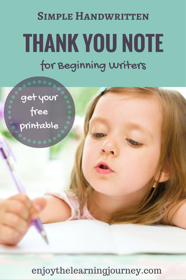 A Simple Handwritten Thank You Note for Kids ~ Beginning Writers