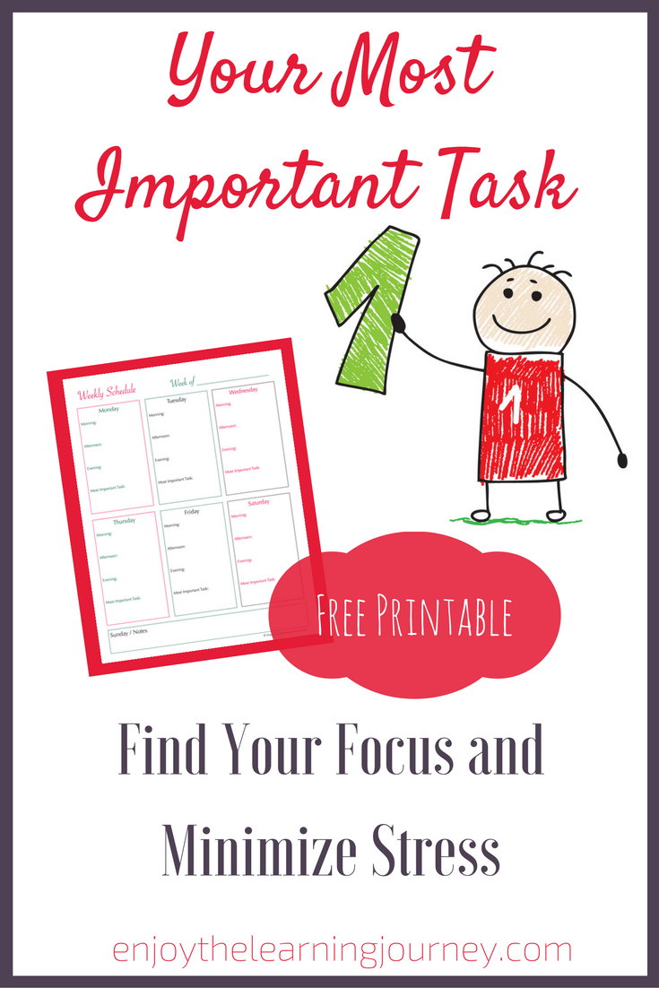 Find your focus and minimize stress by determining your Most Important Task each day. Free printable weekly schedule with space for MIT to keep you on track!