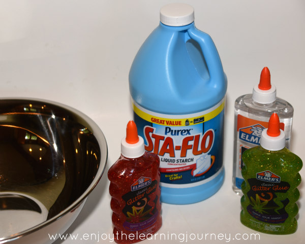 This simple liquid starch dinosaur homemade slime recipe (no Borax) will provide a gooey sensory activity for your child. Add dino toys for even more fun!