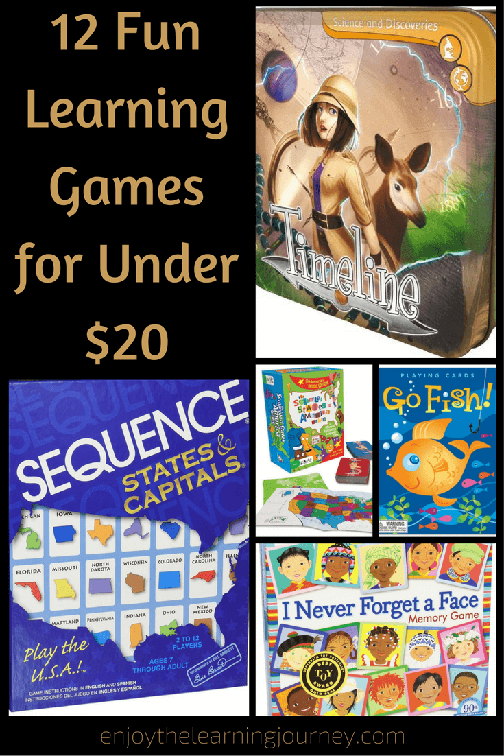 Here are 12 fun learning games for under $20 that you can add to your homeschool or family game night!