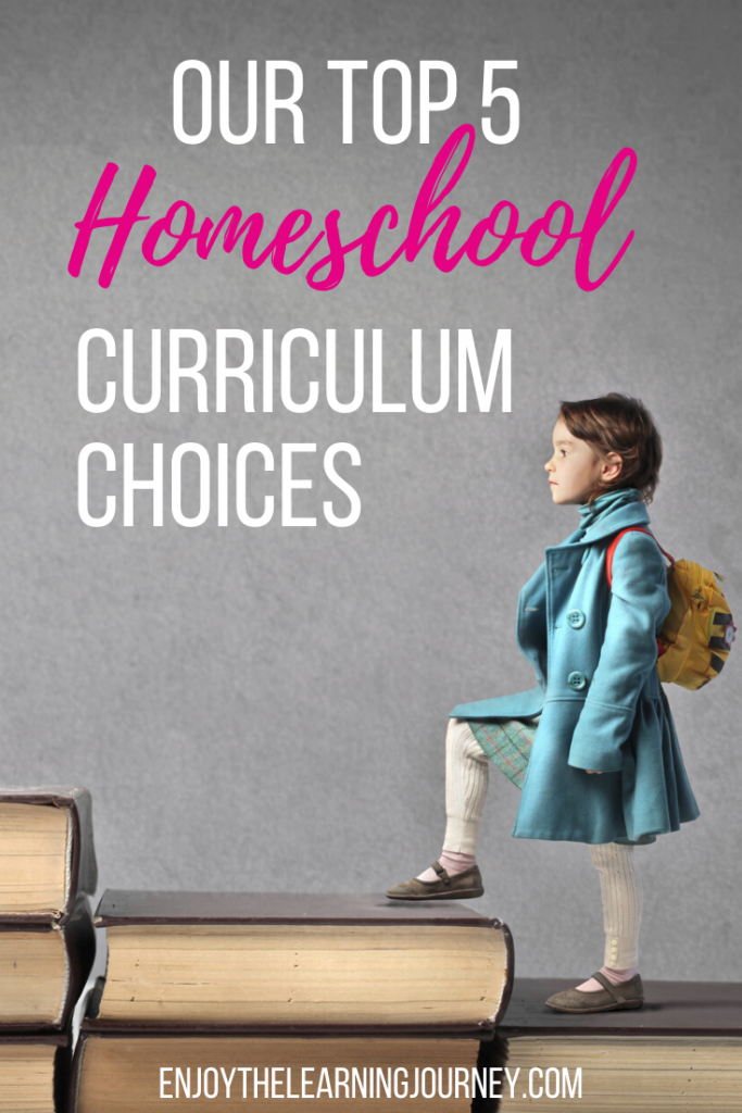 "Girl walking up staircase of made out of books with text overlay that says ""Our Top 5 Homeschool Curriculum Choices"""