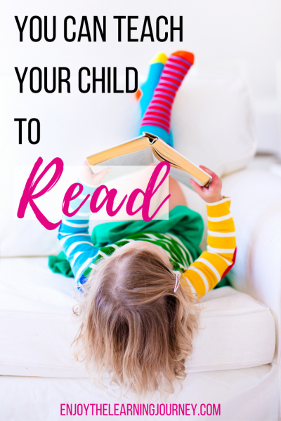 "Girl laying on back reading a book with text overlay that says ""You Can Teach Your Child to Read"""