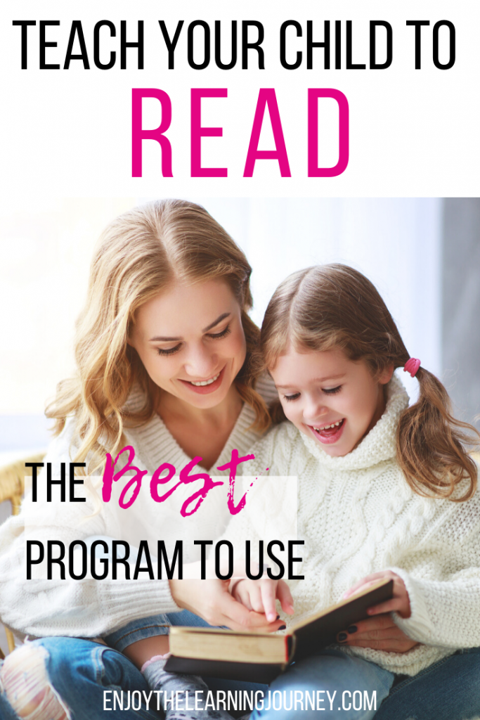 "Girl and her mom reading together with text overlay that says ""Teach Your Child to Read: The Best Program to Use"""